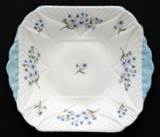 SHELLEY Vintage 13591 BLUE ROCK DAINTY Porcelain China SQUARE HANDLED CAKE PLATE