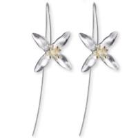 Ohrhänger Ohrringe 925er Silber Blume vergoldet
