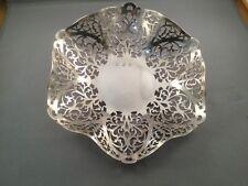 Irish Solid Silver Fretwork Bon Bon Dish, Dublin 1962, 189.1grams