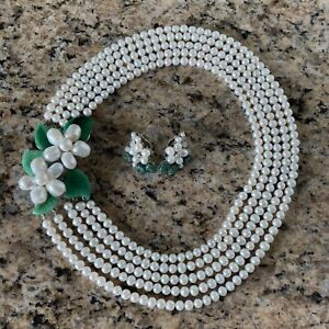 Siman Tu Five Strand White Freshwater Pearl Necklace and Earring  Set