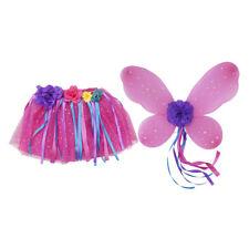 Déguisement de papillon rose aile de fée et jupe Tutu avec pompons ruban