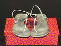 Tory Burch Women's Sandals Emmy Silver Metallic Leather Size 11