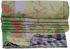 Vintage Quiltreversible Throw Kantha Bedspread Cotton Bedding Blanket Cotton