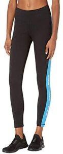 Reebok Women's Training Essentials Linear Logo Leggings Black/White/Blue Small