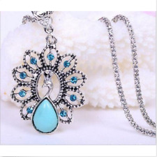 New Women Jewelry Crystal Chain Exquisite Peacock Turquoise Pendant Necklace
