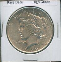 1922-D Peace Dollar Rare Date US Mint Coin Silver Coin High Grade