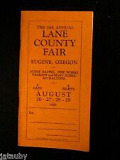 Vintage 1931 LANE COUNTY FAIR PREMIUM LIST BOOK EUGENE OREGON GREAT ADS & SHAPE