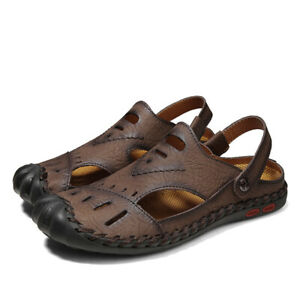 Mens Casual Pu Leather Slippers Breathable Outdoor Sandals Summer Beach Shoes