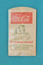 VINTAGE COCA-COLA NO-DRIP BOTTLE PROTECTOR PAPER SLEEVE - SO REFESHING WITH FOOD