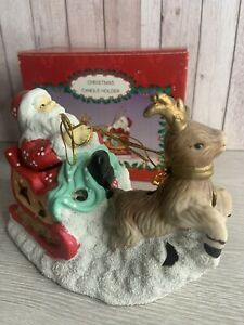 Vintage - Santa & Rudolf Christmas Candle Holder From The Snow White Collection