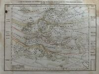 1852 EUROPE ISOTHERMAL AND TREES ETC ANTIQUE HAND COLOURED MAP BY JOSEPH MEYER
