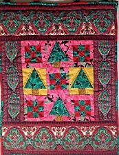 Christmas Small Wall Hanging Quilt Pieced 15.5 In. W 19.5 In. L Handmade