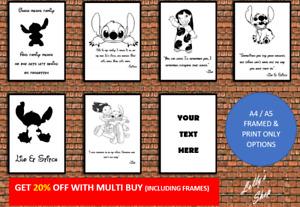 Disney's Lilo & Stitch – Various Quotes – A4 A5 Photo Frame & Print