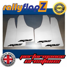 rallyflapZ to fit MAZDA 3 MPS Mk2 Mud Flaps & Fixings White Logo Black 4mm PVC