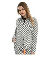 Dickies Girl Checkered Denim Jacket (Gray, White) Women's size S