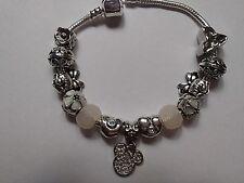 European Style Silver MICKEY & MINNIE Bracelet -10 Silver Charms & 2 Acrylic