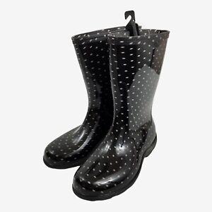 Sloggers Women's Rain Garden Waterproof Boots Black Pink / Lavender Dots Size 11