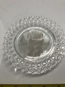 """EAPG  Glass 5"""" W Girl Keyhole Reticulated Lace Edge Antique Plate"""