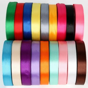 Satin Ribbon Double Sided Full Reel 22 Metre Rolls 30 Colours 15mm