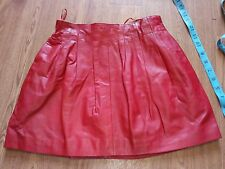 Castillo Red Real Leather pleated Mini Skirt Size Sz 10 Europe 38 RARE, vgc