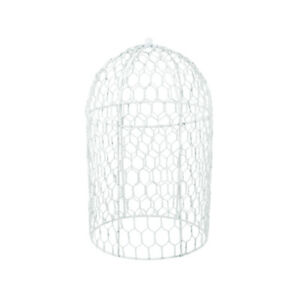 20cm White Wire Cloche or Bird Cage Shape for Floristry Crafts