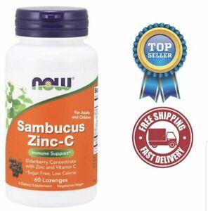NOW Elderberry Sambucus Zinc Vitamin C, 60 Lozenges, Immune System Booster, USA