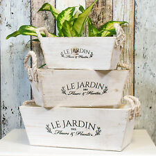 3 x Rustic French Wooden Rope Plant Pots Herb Troughs Flower Window Box Planters