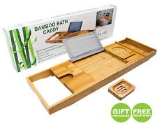 Extendable Bamboo Bathtub Caddy Bridge | Wood Tray Wine Glass Phone Soap Holder