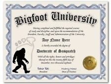 Bigfoot University Sasquatch Hunter Personalized Diploma w/Gold Seal Novelty gag
