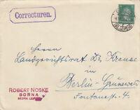 DR, 5 Pfg. Schiller, Privatumschlag (Ganzsache), von Borna nach Berlin 1927