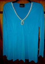 METRO STYLE WOMANS SIZE XL BLUE V-NECK LONG SLEEVE POLYESER/SPANDEX EMPIRE SHIRT