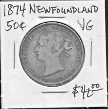 NEWFOUNDLAND - BEAUTIFUL HISTORICAL SCARCE  QV SILVER 50 CENTS, 1874 KM# 6