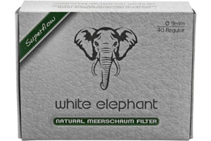 NEW White Elephant - Natural Meerschaum 9mm Pipe Filters - Pack of 40