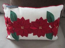 "Nwt Christmas Holiday Textured Red Poinsettia Pillow 14"" x 20""-Decor, Chair, Bed"