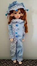 Light Blue Polka Dot Clown doll Outfit Costume 18 In Msd Bjd Kaye Wiggs