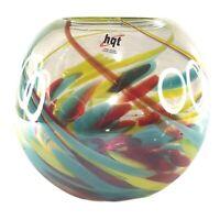 HQT Hand Blown Art Glass Round Ball Globe Vase Multi Color Swirls