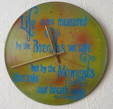 FUNKY  record WALL CLOCKS ..words..lyrics..poems..phrases..recycled..Glastonbury