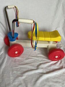 1980 Vintage Playskool Ride On Bike Tyke Trike w/ Red Blue Yellow Streamers
