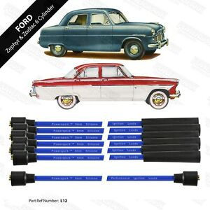 Ford Zephyr & Zodiac 8mm Performance HT Leads in Blue Made by Powerspark