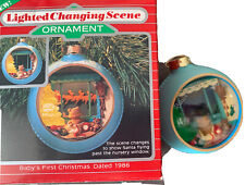 1986 Hallmark Lighted Changing Scene Baby's First 1st Christmas Magic Ornament