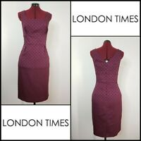 London Times Woman Career Formal Sleeveless Sheath Dress Size 14 Maroon