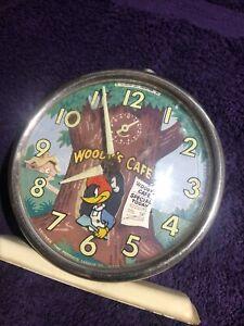 Vintage 1959 ALARM CLOCK WOODY WOODPECKER CAFE-COLUMBIA TIME-Animated Bird