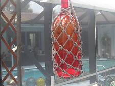 Japanese Glass Fish Net Floats - Saiki Bottle - Amber/RED large
