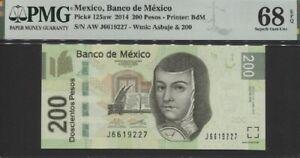 TT PK 125aw 2014 MEXICO BANCO DE MEXICO 200 PESOS PMG 68 EPQ SUPERB MONSTER GEM!