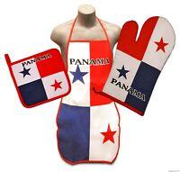 Panama Flag Kitchen & BBQ Set w/ Apron Oven Mitt Pot Holder Panamanian FREE S/H