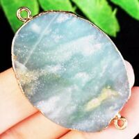37x29x5mm Wrapped Amazonite Gem Oval Pendant Bead A27117