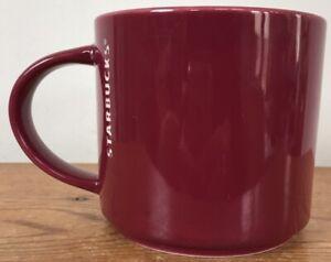 2013 Starbucks 14 oz Maroon Ceramic Porcelain Glazed White Logo Coffee Mug