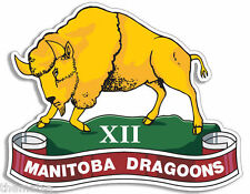 "XII MANITOBA DRAGOONS CANADA ARMY 4"" HELMET BUMPER DECAL STICKER USA MADE"