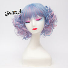 "12"" Pink Mixed Blue Ombre Short Curly Women Lolita Heat Resistant Cosplay Wig"