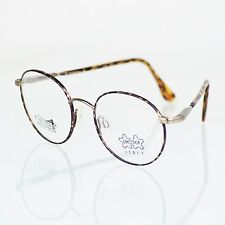 VTG 80s Avant-Garde Luxottica Brown Red Round Eyeglasses Frames 3U Italy